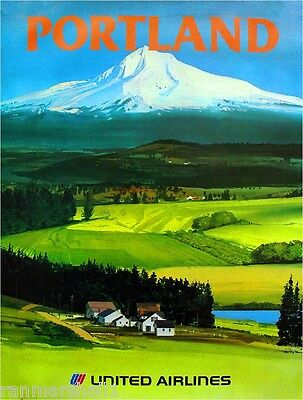 1960s Portland Oregon Mt. Hood United States America Travel Advertisement Poster