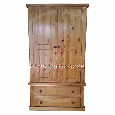 Hand Made Dewsbury Pine Furniture 2 Drawer Wardrobe(Assembled)