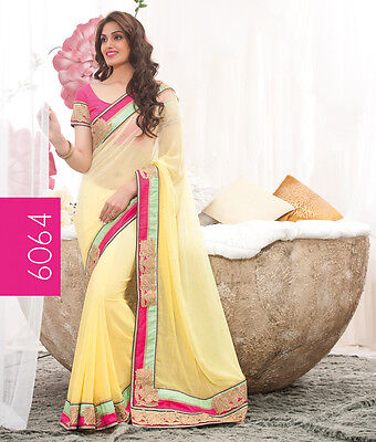 Ethnic Designer Fancy Evening Party Wear New Bollywood Yellow Saree Sari RS6064