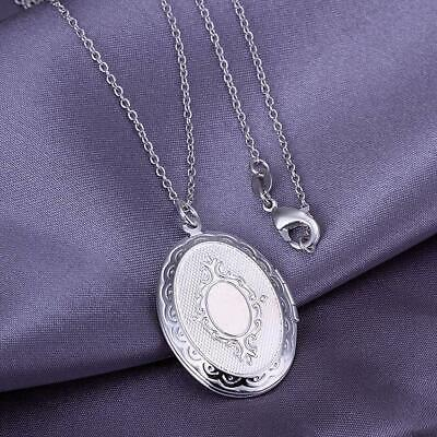 *uk* 925 Silver Plt Open Oval Round Photo Picture Locket Pendant Necklace Ladies