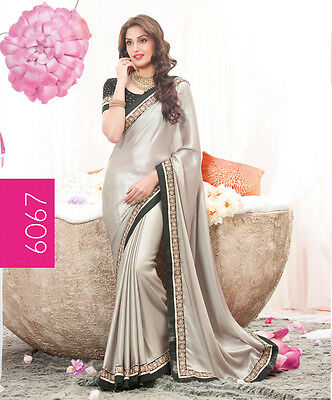 Latest Stylish Evening Party Wear Stylish New Bollywood Silver Saree Sari RS6067