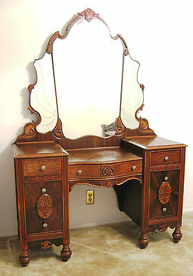 Antique Dresser with Beveled and Etched Mirror's - - Zebra Wood  1900's