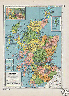 Vintage RETRO 1940s Folio Map of SCOTLAND / IRELAND Britannica Atlas Original