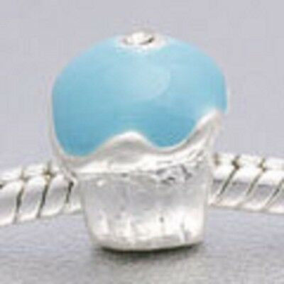 SILVER PLATED TEAL ENAMEL CUPCAKE SPACER BEAD CHARM ** C MY STORE 4 BRACELETS