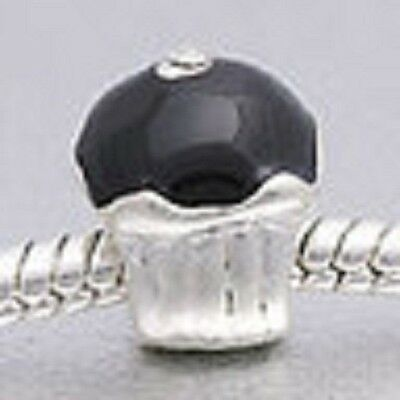 SILVER PLATED BLACK ENAMEL CUPCAKE SPACER BEAD CHARM ** C MY STORE 4 BRACELETS