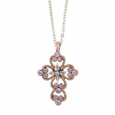 Vatican Library Rose Gold Tone Pink Swaroski Crystal Cross Pendant Necklace