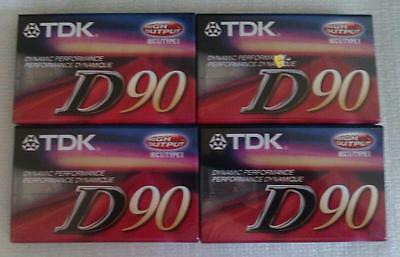 NEW AND SEALED  (4) TDK D90 CASSETTE TAPES HIGH OUTPUT