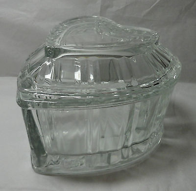 Vintage Dish Box Homco Crystal Clear Glass Heart Shaped Covered Candy TrinketBox