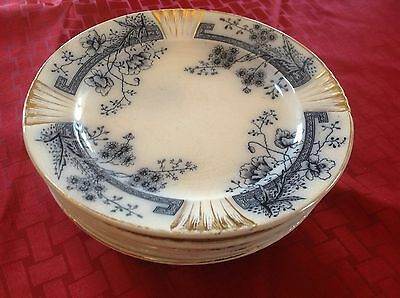"6 FLOW BLUE 7 1/2"" Plates WINDSOR C.H.&H  TUNSTALL POTTERY"