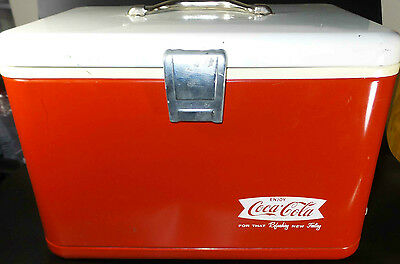 *SCARCE* VINTAGE ENJOY COCA COLA FOR THAT REFRESHING NEW FEELING METAL COOLER
