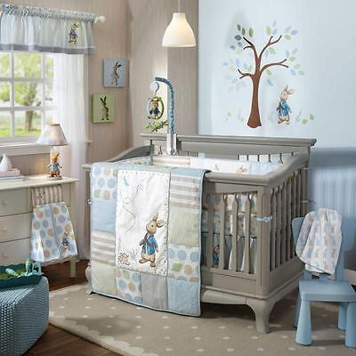 Patchwork Polka Dots Rabbit Unisex Baby Nursery 5 Piece Crib Bedding Bundle Set