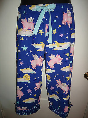 MED Nick & Nora Pants When Pigs Fly Winged Piggy Blue Clouds Capri Pajama Pants