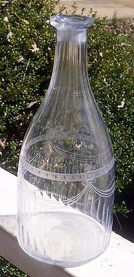 Circa 1780 Amalung Decanter Rough Pontil Cut Glass and Fine Etching