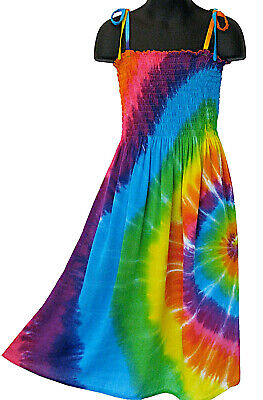 Girls Rainbow Tie Dye Dress Multi Color Sundress Summer NEW Girls 4 6 8 10 12