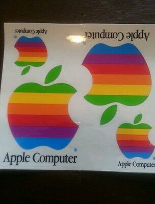 """Sheet of FOUR Vintage Rainbow """"Apple Computer"""" Stickers GREAT Cond FREE SHIPPING"""