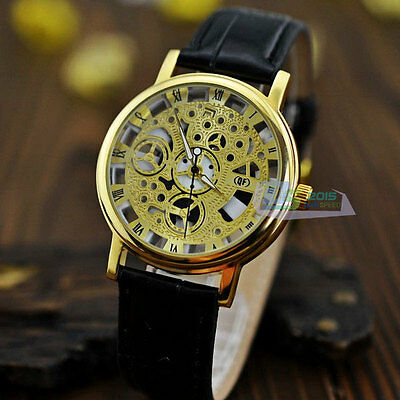 Fashion Roman Numbers Silver & Golden Dial Leather Band Luxury Men Hollow Watch