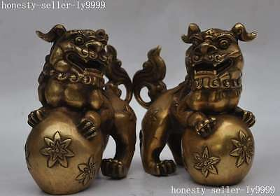 chinese fengshui copper Brass Guardian Fu foo Dogs Lion Animal Beast statue pair