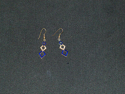 Goldtone with Blue and White Enamelled Diamond Shaped Drops - Pierced Ears