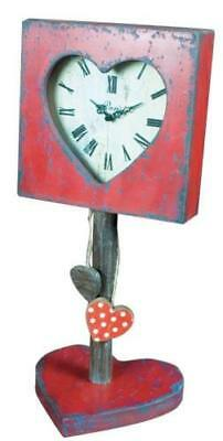 Shabby Chic Heart Shelf/ Mantle Clock - Distressed Red Paint & Antiqued Wood