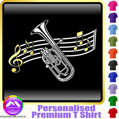 Tenor Horn Curved Stave - Personalised Music T Shirt 5yrs - 6XL by MusicaliTee