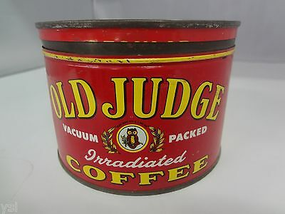 VINTAGE OLD JUDGE  BRAND  COFFEE TIN ADVERTISING COLLECTIBLE GRAPHICS  G-404