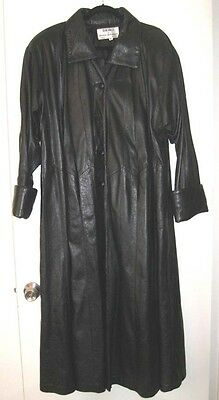 Dero by Rocco D'Amelio Black Leather Coat Woman Size XL Trench