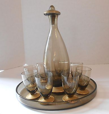Nancy Daum France Decanter Set w/8 Glasses & Tray-Signed