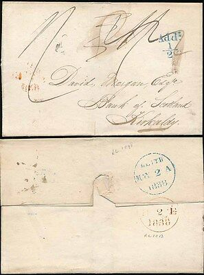 SCOTLAND 1838 LEITH ADD.1/2d in BRIGHT BLUE +WRONG CHARGE MANUSCRIPT to KIRKALDY