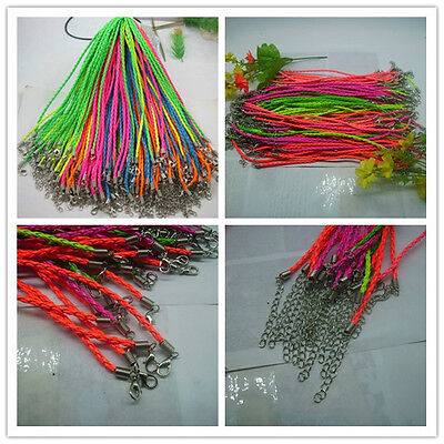 A lot of fashion Fluorescent color Braid Leather Cord Necklace Lobster Clasp