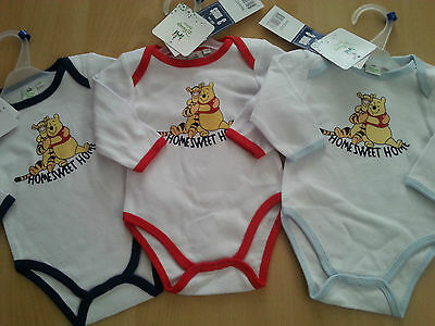 New unisex Disney Winnie the Pooh baby one piece bodysuit long sleeve with trim