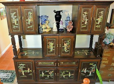Chinese Asian Inset Jade Panel Carving Stereo Cabinet Chest Buffet Dresser Large