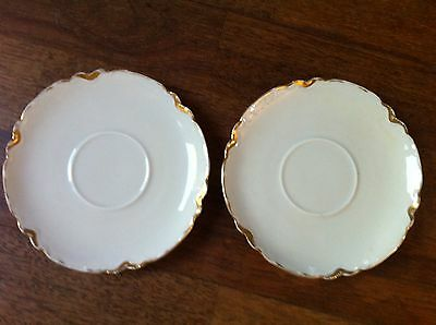 SAUCER LOT OF 2 MZ AUSTRIA GOLD TRIMMED SCALLOPED EDGE SAUCERS WHITE PLATE DISH