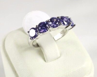 R#6158 simulated Purple Amethyst 5 gemstone ladies silver ring size 7