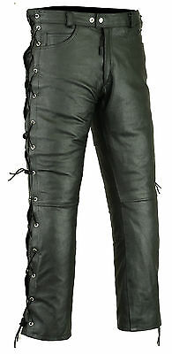 Mens RIDEX Motorbike Biker Motorcycle Cowhide Leather Trouser Jeans - Side laces