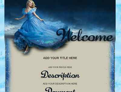 CINDERELLA eBay Listing Auction Template BLUE fashion Dress Woman cartoon movie