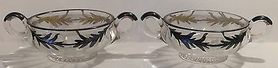 2 Clear Glass 2 Handled Silver Leaf Cream Soup Bowls