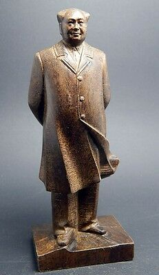 5 inch Chinese Great Man Mao Zedong Sculpture Agarwood wood carved statue