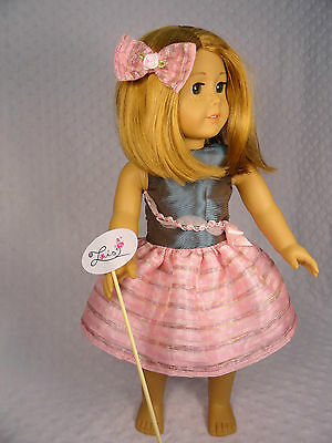 """HOLIDAY METALLIC BLUE & PINK PARTY DRESS W/HAIR BOW FOR 18"""" AMERICAN GIRL DOLL"""