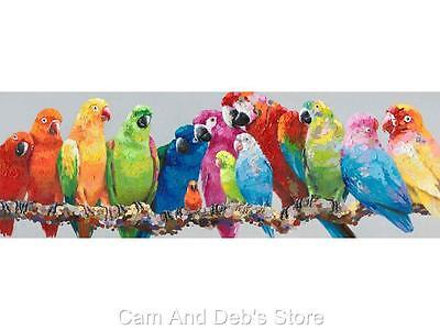 Parrot Birds On Branch Stretched Canvas Oil Painting Picture Wall Art 120 cm