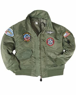 Mil-Tec Kids Cwu Jacket With Patches Us Pilot Flight Top Gun Flyer Badges
