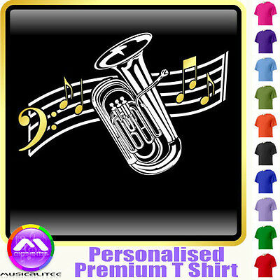 Tuba Curved Stave - Personalised Music T Shirt 5yrs - 6XL by MusicaliTee