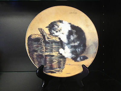 "W.S. George Victorian Cat Capers 8"" Plate ""A Curious Kitty"""