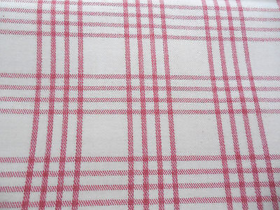 Vintage Brushed Cotton Twill Decorator Upholstery Fabric 48 x 75 Rose Pink Plaid