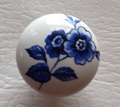 antique hardware drawer pull cabinet Vintage Porcelain Knob flow blue flowers