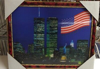 """World Trade Center Picture Framed 3D Twin Towers 13.5"""" X 10.5"""" New #2"""