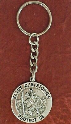 St Christopher Keyring keychain patron Saint of travel Protect Us Medal Charm