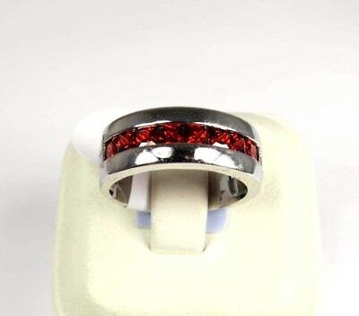 R#6309 simulated Red Garnet gemstone unisex silver band ring size 9.75