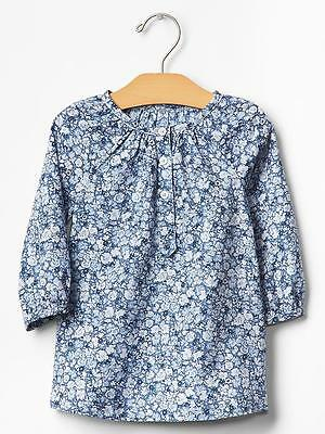 NWT BABY GAP GIRLS Blue Floral Flowers Top Tunic Shirt  5 Toddler $30