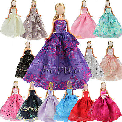 6 Pcs Fashion Handmade Party  Wedding Outfit Dresses For Barbie Doll GIFT