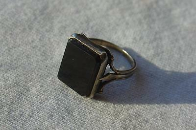 Vtg Russian 875 Silver Ring with Black Stone
